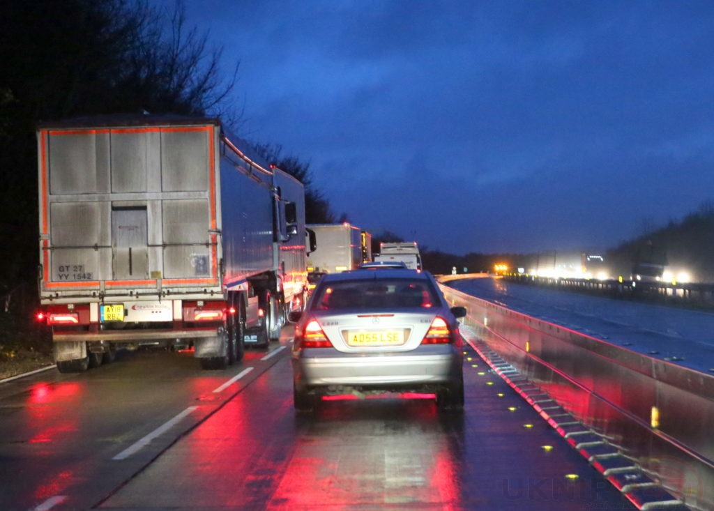 Long Delays On M20 Closed Between Junction 8 And Junction 9 After Road Surface Fails