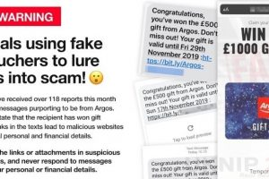 scam messages offering argos gift cards