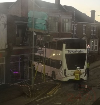 school bus ploughs into scaffolding on sheerness 1