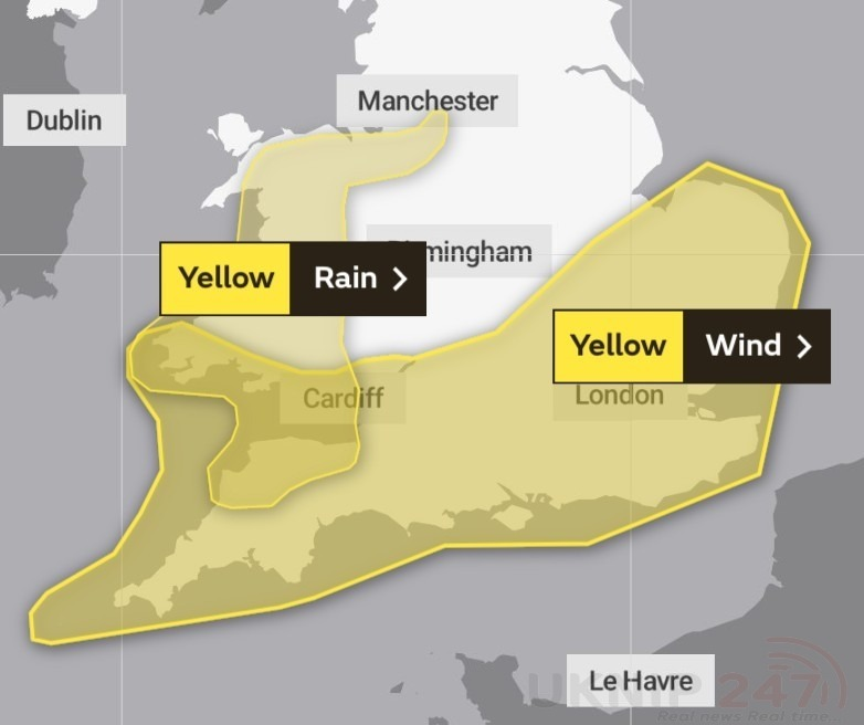 yellow weather warning issued for the south and south east wales and the west 1