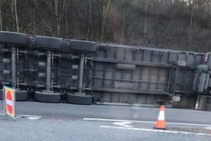 the m25 clockwise entry slip at junction j1a remains closed after an hgv overturned