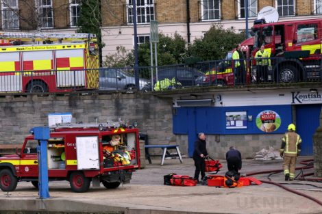 fire crew tackle boat ablaze on the river medway in kent 12