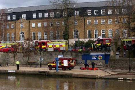 fire crew tackle boat ablaze on the river medway in kent 13