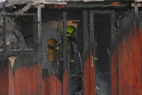 fire crew tackle boat ablaze on the river medway in kent 17