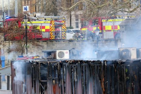fire crew tackle boat ablaze on the river medway in kent 23