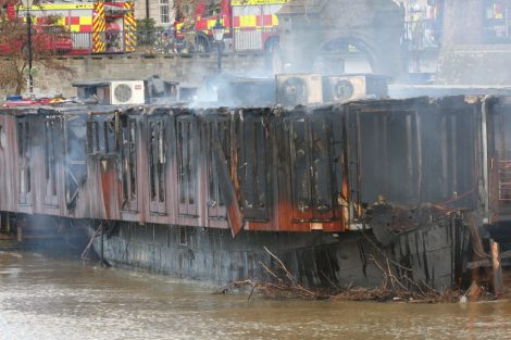 fire crew tackle boat ablaze on the river medway in kent 24