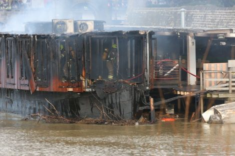 fire crew tackle boat ablaze on the river medway in kent 25