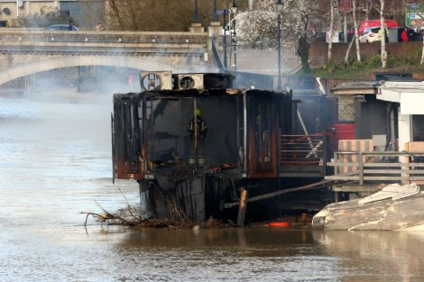 fire crew tackle boat ablaze on the river medway in kent 26