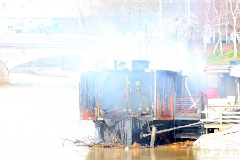 fire crew tackle boat ablaze on the river medway in kent 27