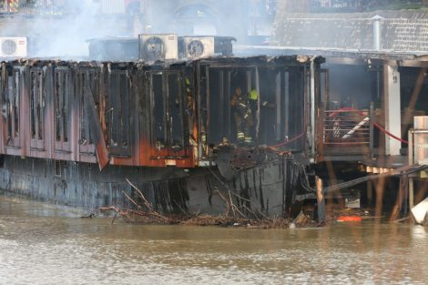 fire crew tackle boat ablaze on the river medway in kent 28