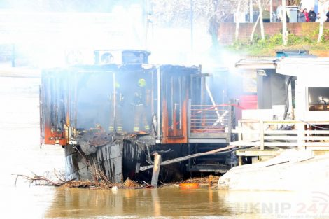 fire crew tackle boat ablaze on the river medway in kent 29