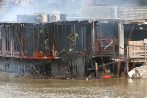 fire crew tackle boat ablaze on the river medway in kent 30