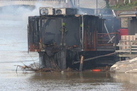 fire crew tackle boat ablaze on the river medway in kent 31