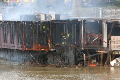 fire crew tackle boat ablaze on the river medway in kent 32