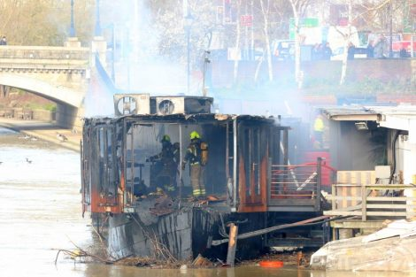 fire crew tackle boat ablaze on the river medway in kent 33
