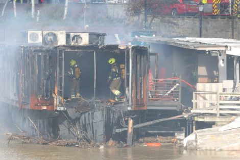 fire crew tackle boat ablaze on the river medway in kent 35