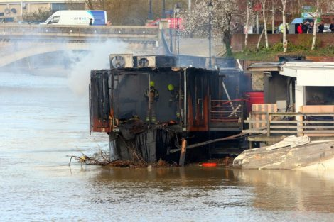 fire crew tackle boat ablaze on the river medway in kent 37