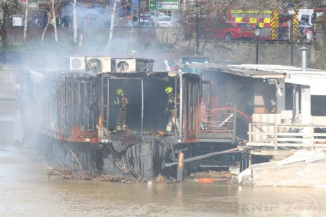 fire crew tackle boat ablaze on the river medway in kent 38