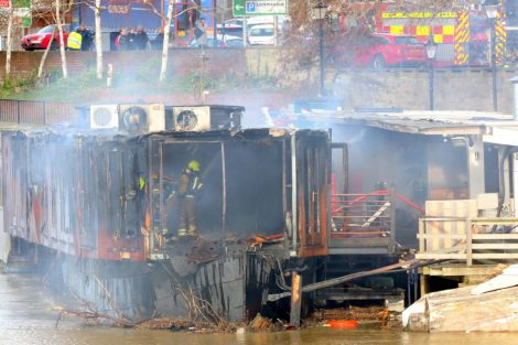 fire crew tackle boat ablaze on the river medway in kent 40
