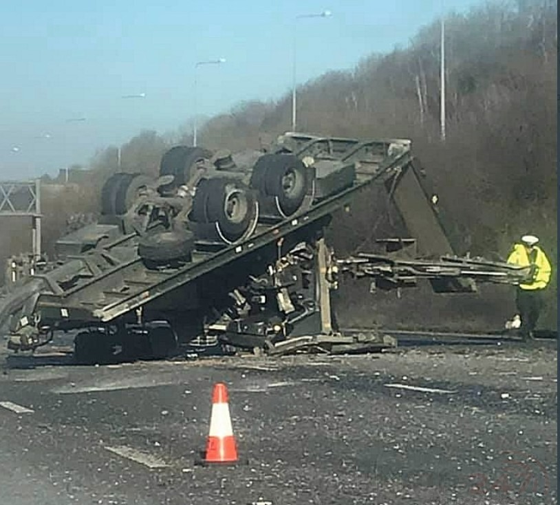 M2 London Bound Closed After Overturned Lorry Blocks Three Lanes