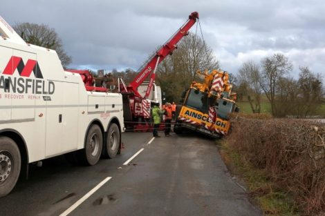 oops 40 ton crane leaves the road in kent village 10