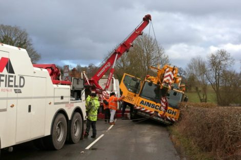oops 40 ton crane leaves the road in kent village 11