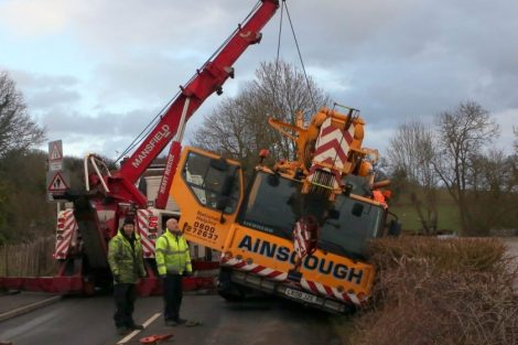 oops 40 ton crane leaves the road in kent village 12