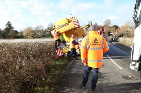 oops 40 ton crane leaves the road in kent village 14