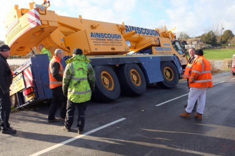 oops 40 ton crane leaves the road in kent village 15