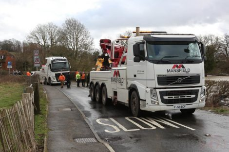 oops 40 ton crane leaves the road in kent village 19