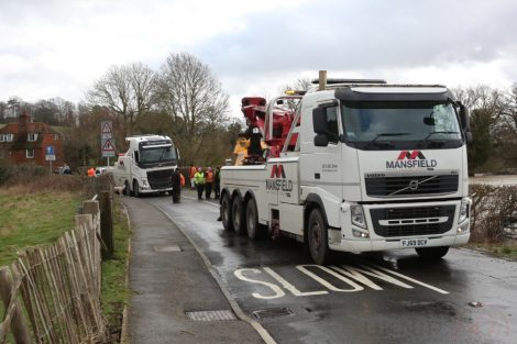 oops 40 ton crane leaves the road in kent village 20