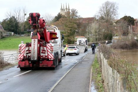 oops 40 ton crane leaves the road in kent village 21