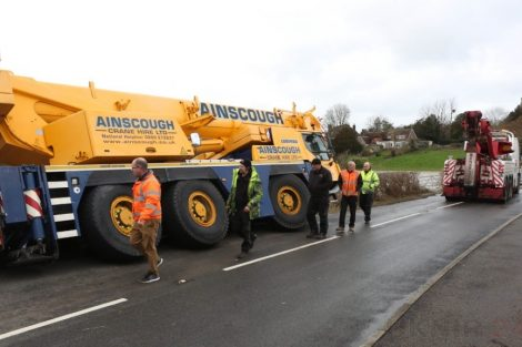 oops 40 ton crane leaves the road in kent village 23