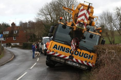 oops 40 ton crane leaves the road in kent village 26