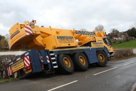oops 40 ton crane leaves the road in kent village 29