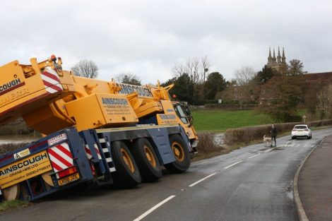 oops 40 ton crane leaves the road in kent village 30