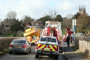oops 40 ton crane leaves the road in kent village
