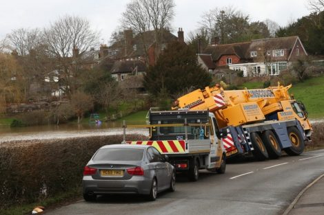 oops 40 ton crane leaves the road in kent village 31