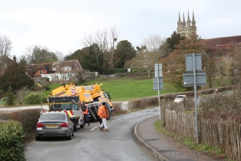oops 40 ton crane leaves the road in kent village 32