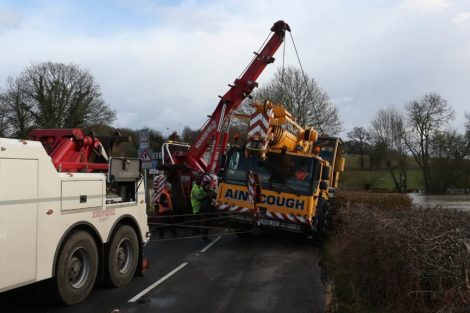 oops 40 ton crane leaves the road in kent village 6