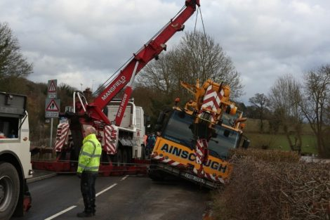 oops 40 ton crane leaves the road in kent village 7