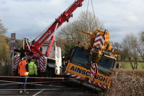 oops 40 ton crane leaves the road in kent village 8