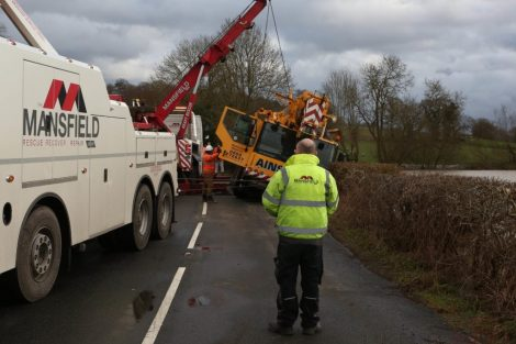 oops 40 ton crane leaves the road in kent village 9