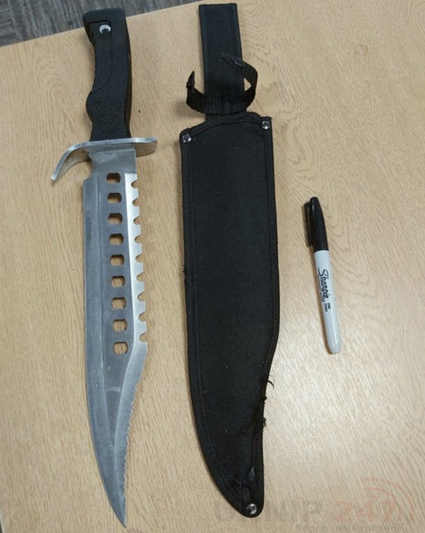 rambo style knife found in dartford childrens play area