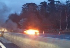 Two Lanes Closed On The M20 Motorway London-bound Closed Following Vehicle A Blaze