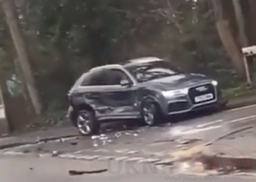 watch shocking footage of a driver going on a wrecking spree in longfield in kent