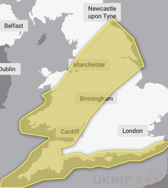 yellow weather warning issued for kent and south east