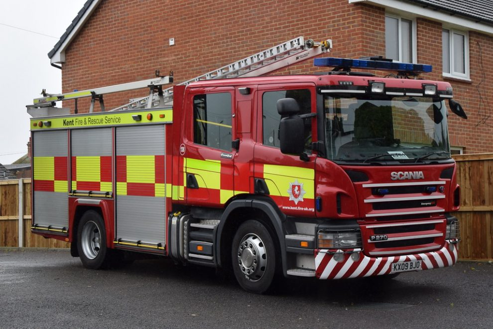 crews tackled the blaze with a combination of high pressure hoses in lydd