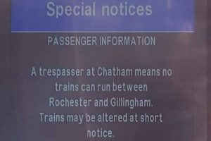 delays after power is turned off due to trespasser on the line at rochester