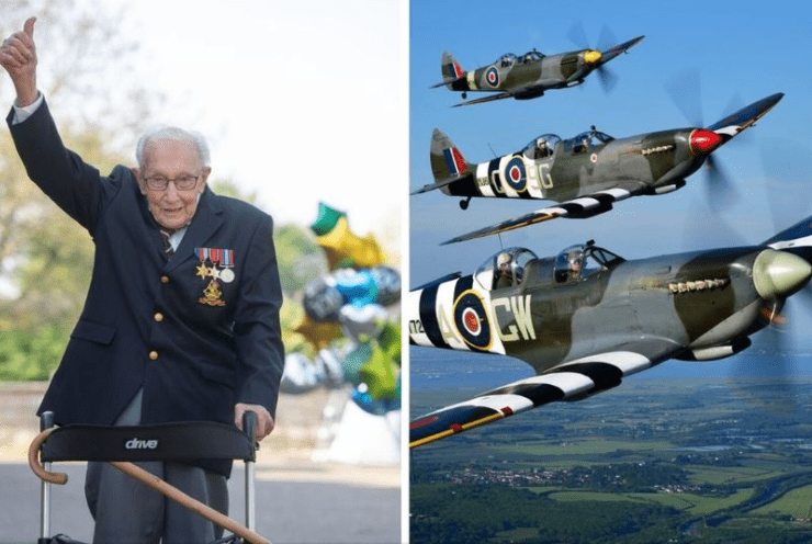 captain tom moore has been offered a spitfire flyby for his 100th birthday as a thank you for raising millions for the nhs